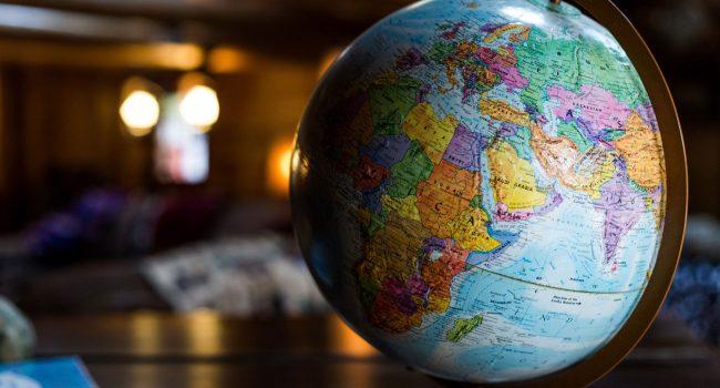Globe sitting on a desk